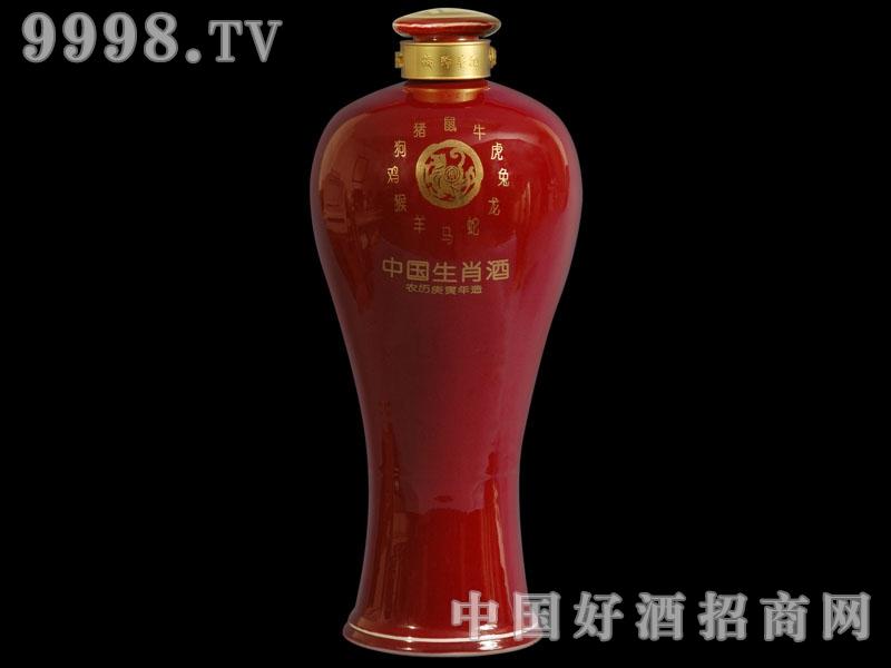 郎红烫金梅瓶.红色生肖酒
