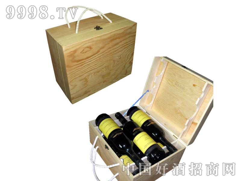 六支干红葡萄酒手提木箱