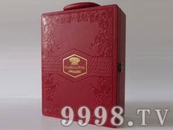 新款红酒包装盒双支装皮盒(红盒装)