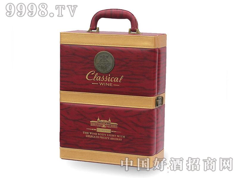 红酒盒礼盒双支皮盒