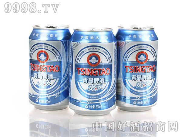 青岛欢动330ml罐装啤酒