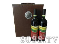 白洋河双支皮盒干红葡萄酒(咖啡色)