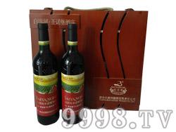 白洋河四支木盒干红葡萄酒