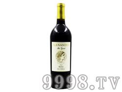 亚历山大大帝美乐红葡萄酒