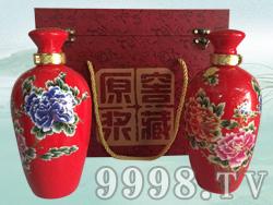 红色牡丹散酒礼盒