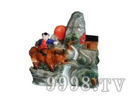 青花瓷工艺品系列-8斤牧童村