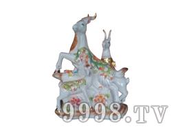 青花瓷工艺品系列-5斤三羊开泰(白)