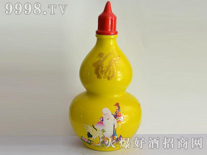 郓城龙腾酒坛系列jt-026黄葫芦福禄寿