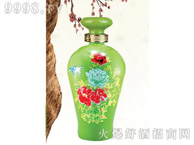 郓城龙腾包装精美雕刻瓶C-021绿瓶牡丹