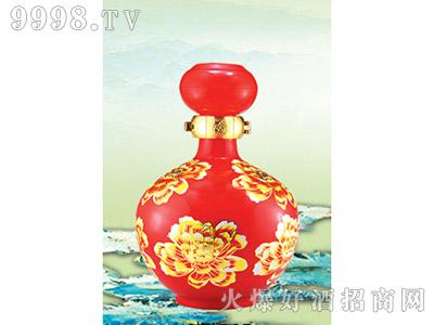郓城龙腾包装精美雕刻瓶C-007红瓶牡丹