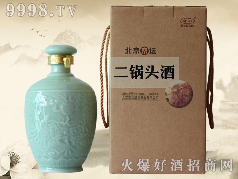 北京京坛二锅头酒青釉瓷52°1000ml