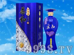 金酒福酒柔和蓝花