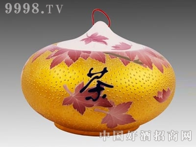 茶叶罐金镶玉枫叶