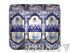 百花青啤酒青花瓷塑包500ml