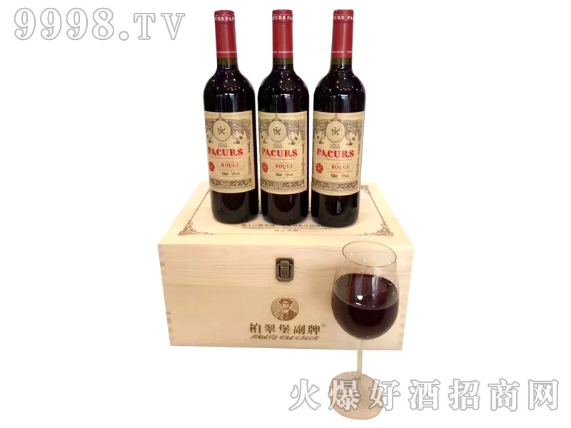 柏翠堡副牌干红葡萄酒2008(木箱)