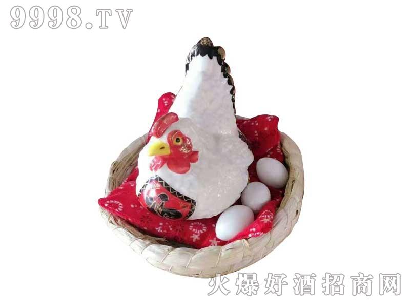 陶瓷坛装吉祥鸡白色