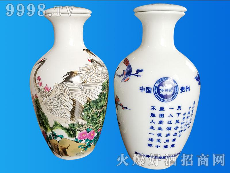 小神女青花瓷酒(鹤图)