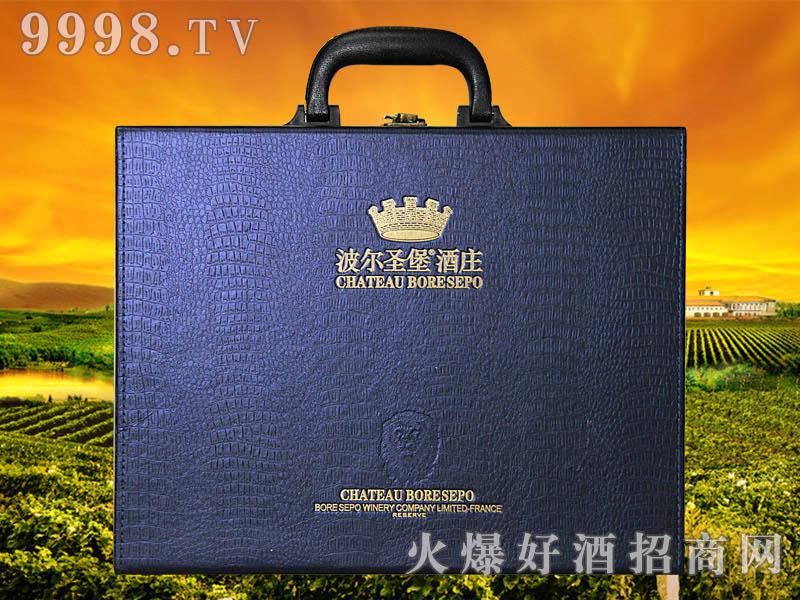 波尔圣堡干红葡萄酒狮王蓝色皮盒