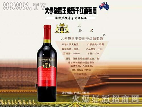 大赤袋鼠王美乐干红葡萄酒