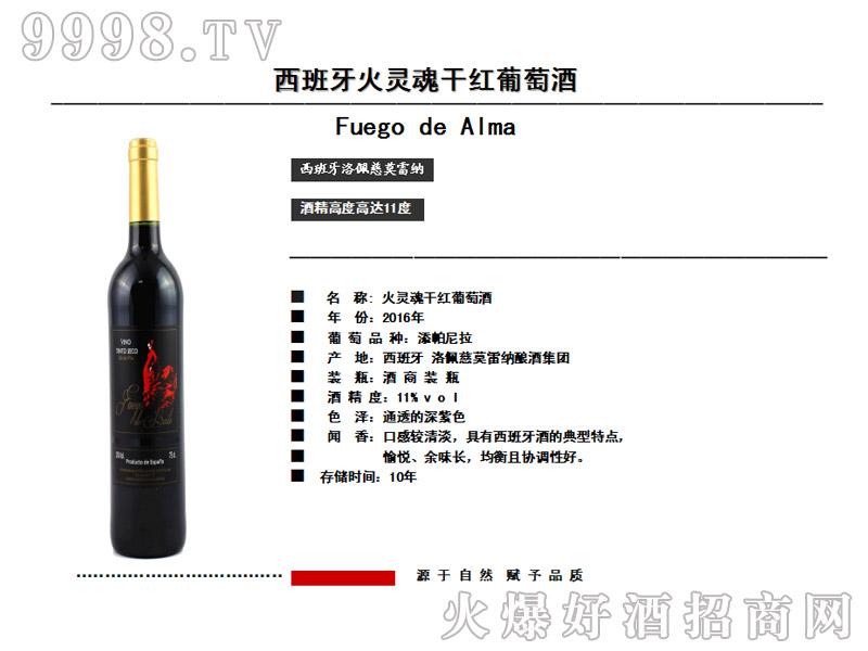 乡元西班牙火灵魂干红葡萄酒
