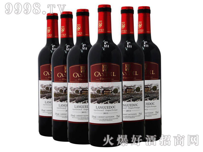 法国原瓶进口红酒卡斯特赤霞珠木箱装干红葡萄酒-红酒招商信息