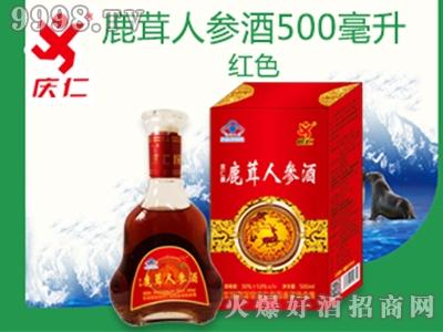 鹿茸人参酒500ml红色