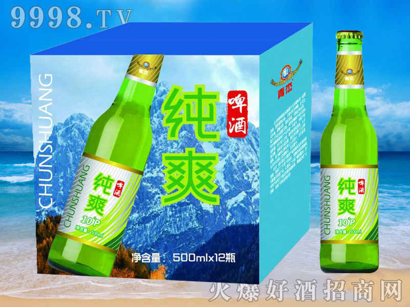 青杰啤酒纯爽10°p500mlx12瓶