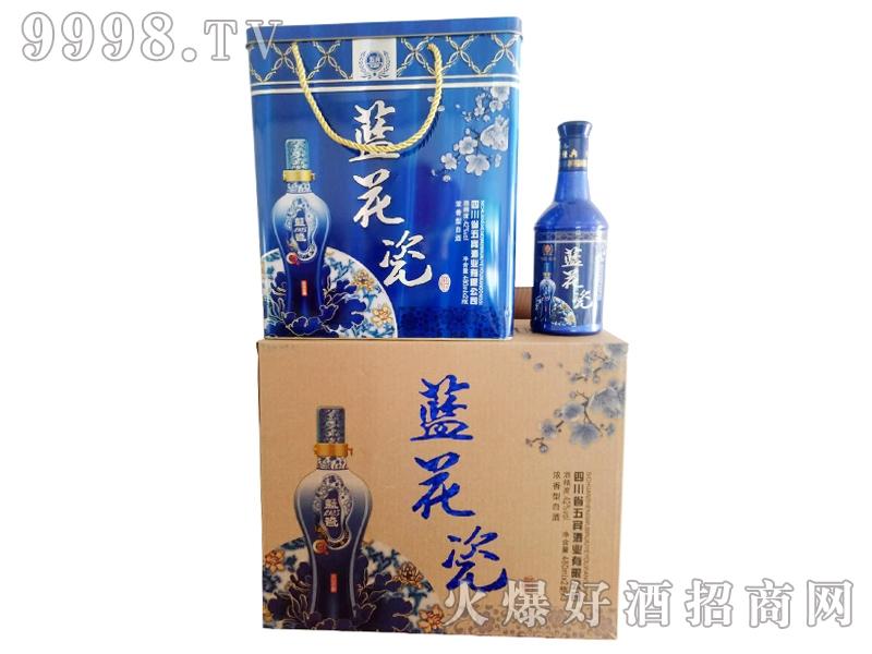 五宾蓝花瓷酒