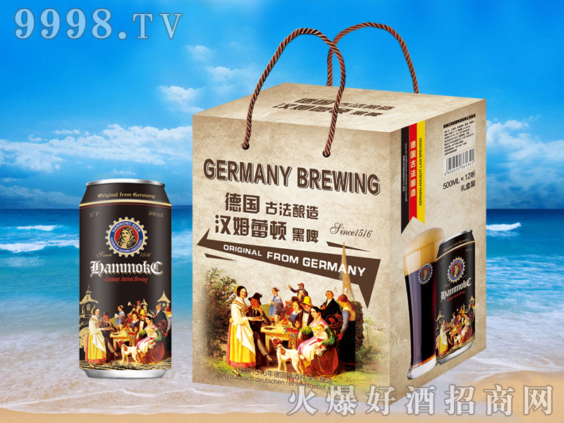 汉姆蕾顿原浆黑啤礼盒500mlx12罐