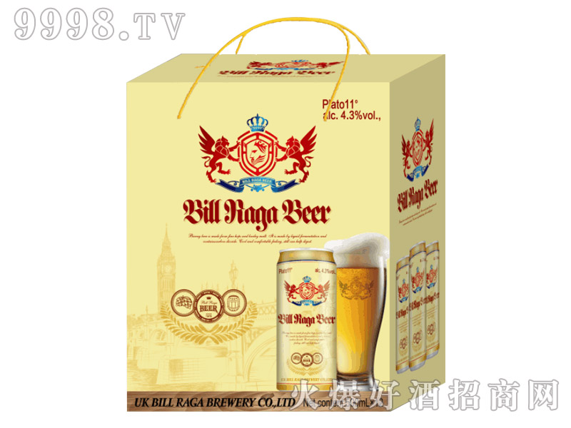 11度比尔拉格白啤酒12罐500ml带绳