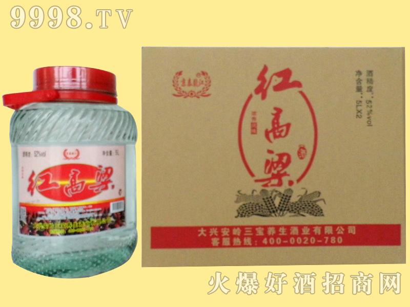 京泰龙江52度5升红高粱玻璃坛整套