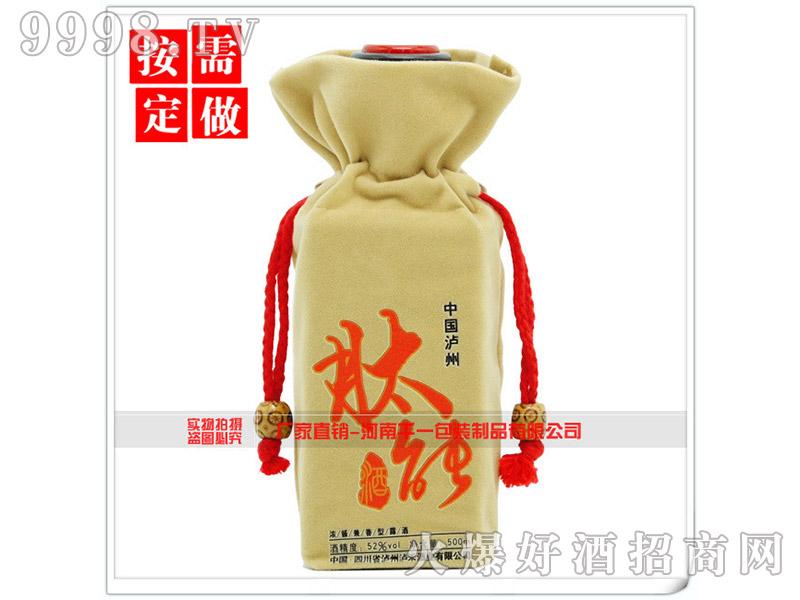 中国泸州肽能酒束口抽绳绒布袋