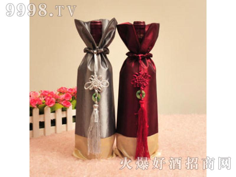 高端红酒包装布袋中国结