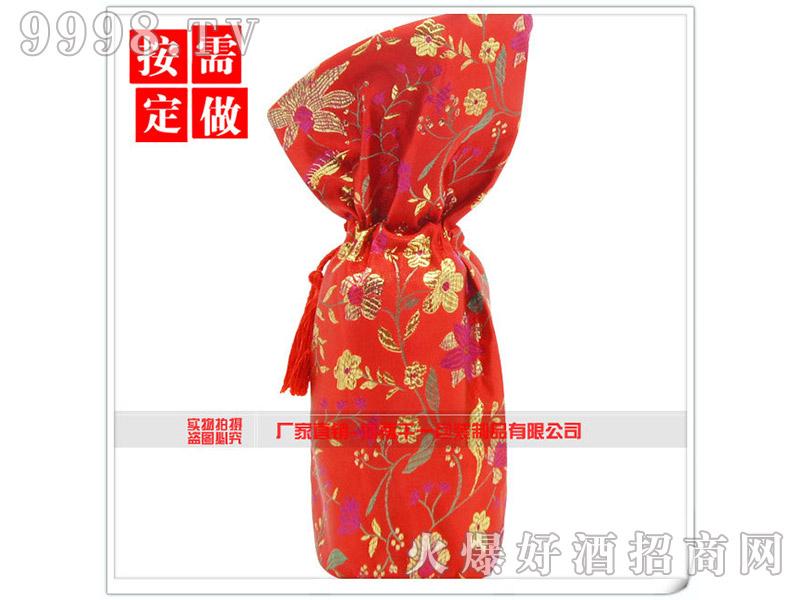 创意个性酒包装红绸布抽绳袋