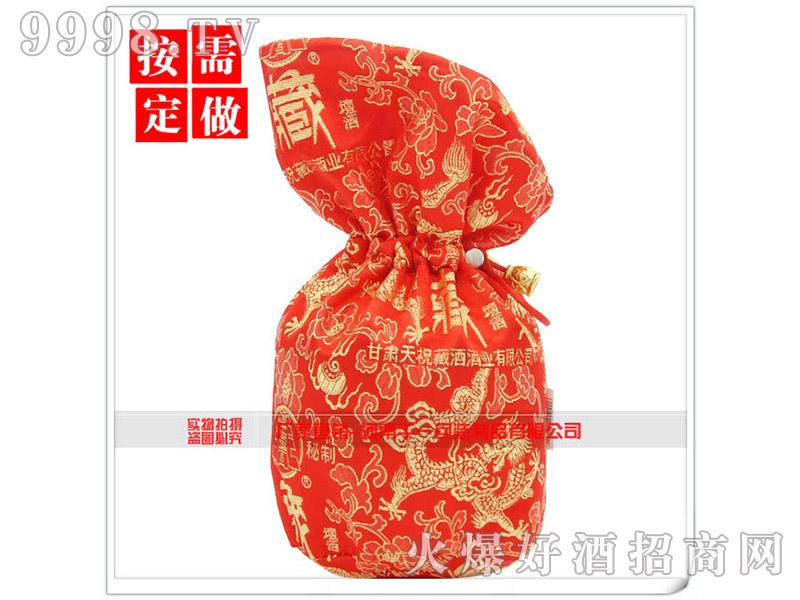 抽绳红绸布酒袋