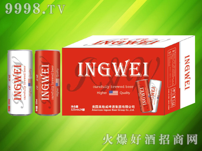 美国英格威精酿啤酒325ml×24罐(红)