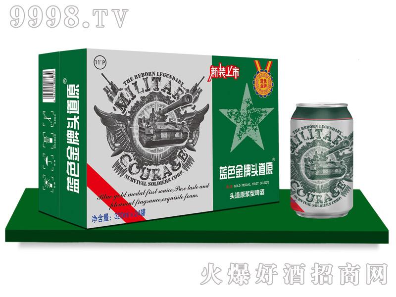 蓝色金牌头道原・原浆啤酒320mlx24罐(绿)
