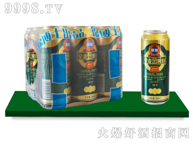 景雪全麦金啤酒塑包490mlx9罐