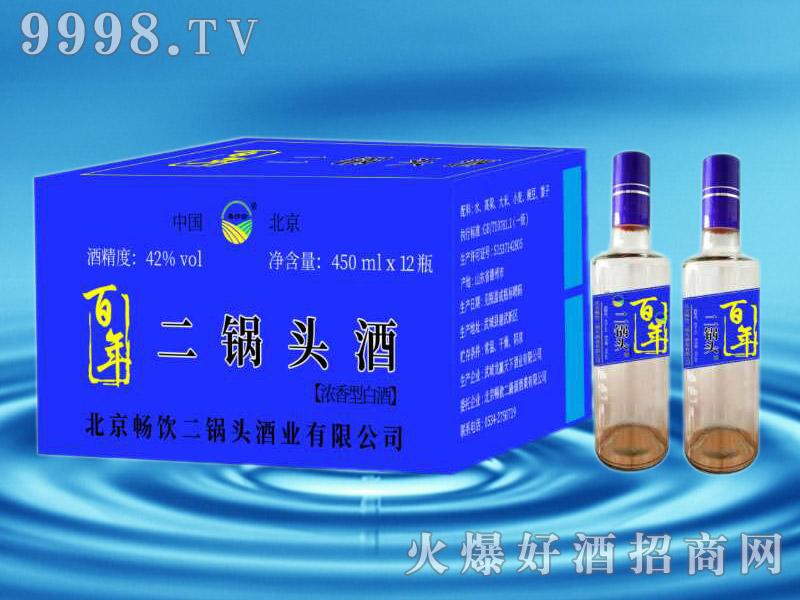 百年二锅头酒42°450mlx12瓶蓝标
