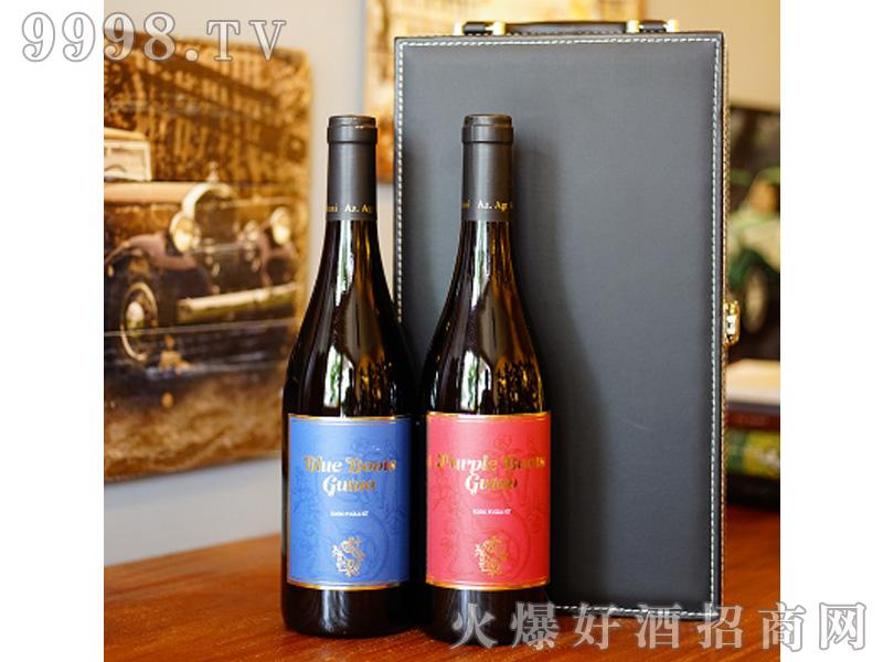 宙斯冰川蓝靴+紫靴葡萄酒IGT级750ml组合双支皮盒装