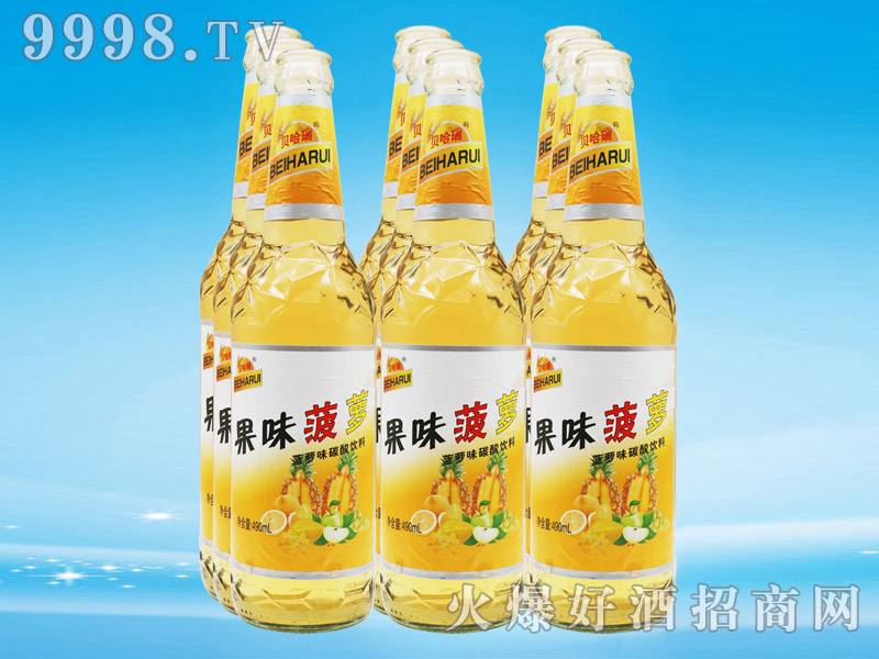 贝哈瑞果味菠萝味碳酸饮料490ml×9瓶