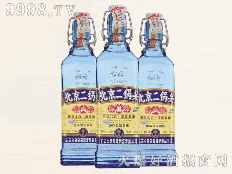 北京二锅头酒出口型小方瓶(蓝酿版)42°500ml清香型白酒