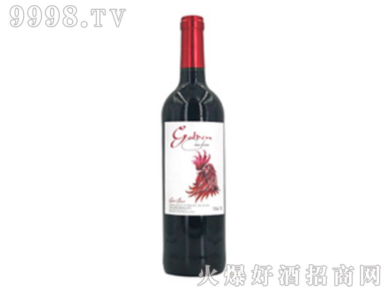 法国原装进口智金鸡13度干红葡萄酒750ml红酒单支生肖酒