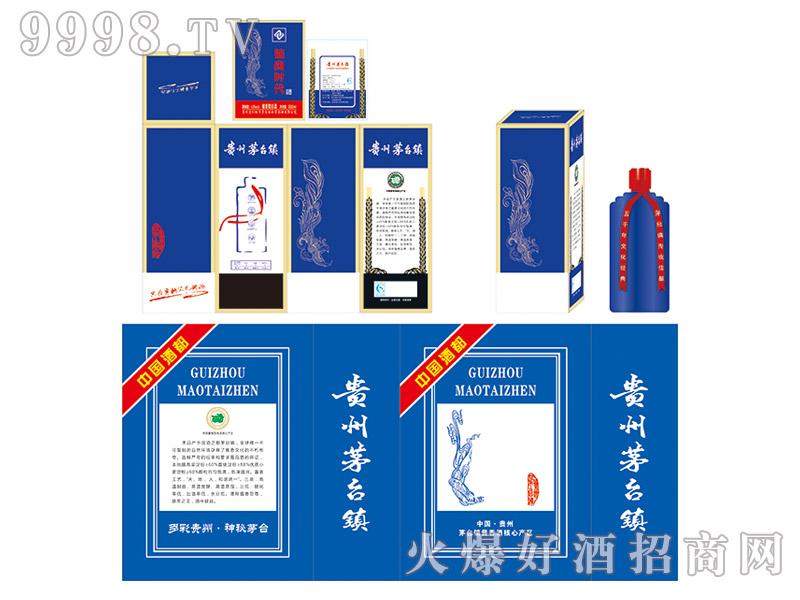 定制酒模板-卡盒蓝色烫金