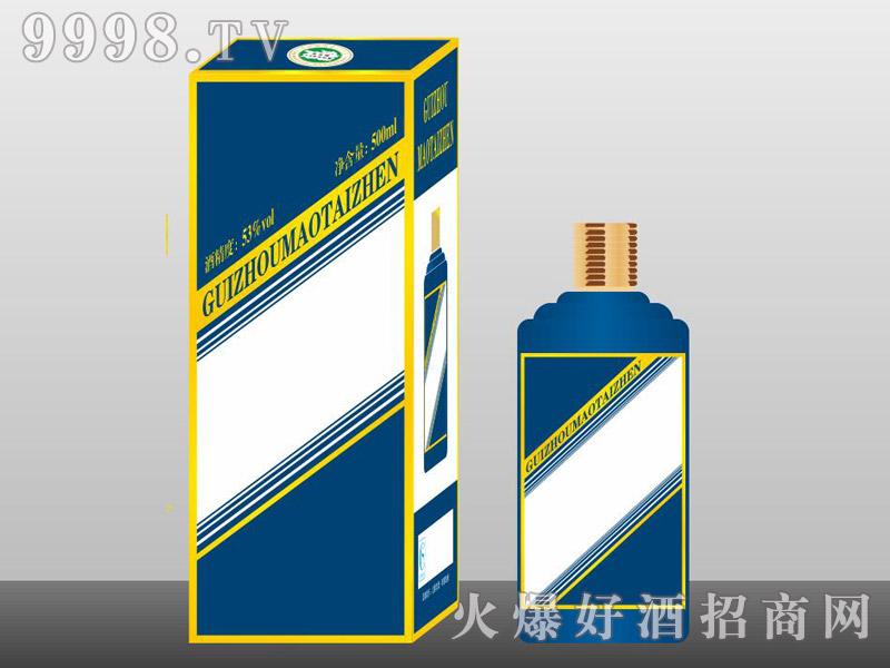 定制酒模板-手工盒生肖瓶蓝色