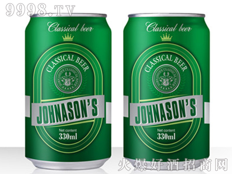 JOHNASONS BEER绿罐啤酒【12度330ML】