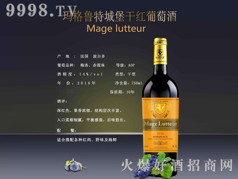 玛格鲁特城堡干红葡萄酒750ml