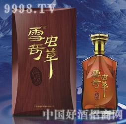 52度高端洋酒瓶单只木盒装八根虫草