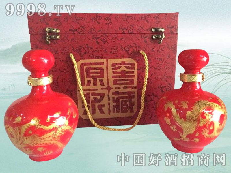 红色龙凤呈祥散酒礼盒