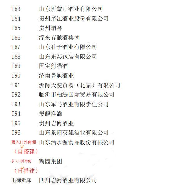 2019山东春季糖酒会主展厅展位参展入驻企业名单